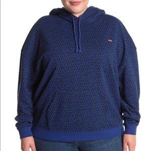Brand new plus size leopard print blue hoodie